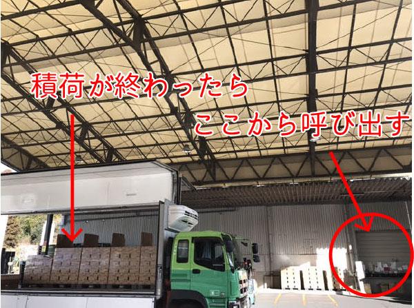 積荷の様子 積み込みが終わったらワンタッチコールで次のトラックを呼び出す。