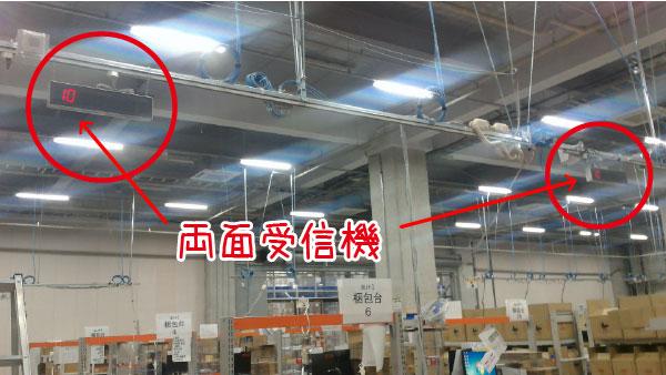 両面受信機を吊り下げています。湖南工業さまの導入風景です。
