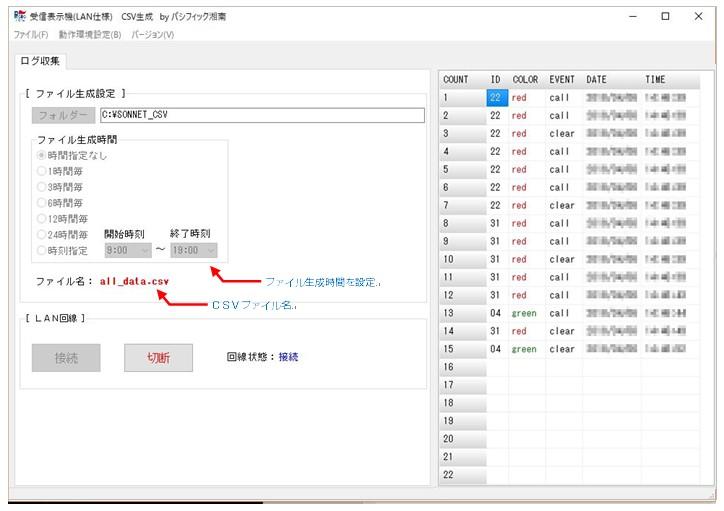 ソネット君ログデータ収集ソフト。CSVで保存できる。